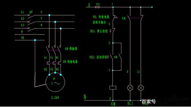 一个含有热继电器的电机启停电气图